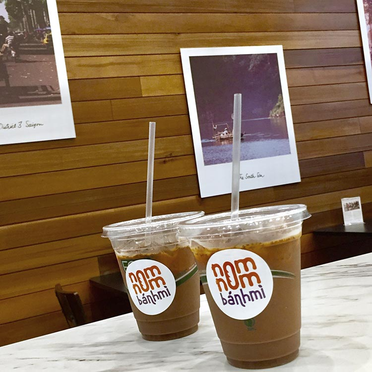Iced coffee in compostable cups